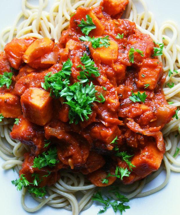 Słodkie spaghetti z batatem  - Dania z makaronu