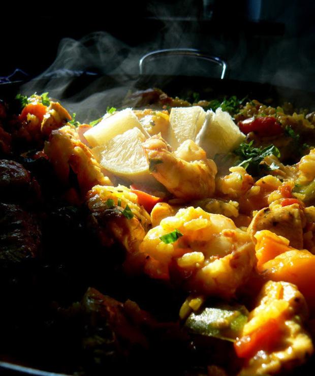 Paella z krewetkami, kurczakiem i dynią - Krewetki