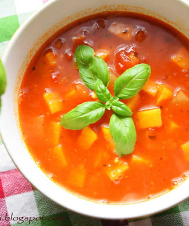 Zupa z batatem, czerwoną soczewicą i passatą  - Z warzywami