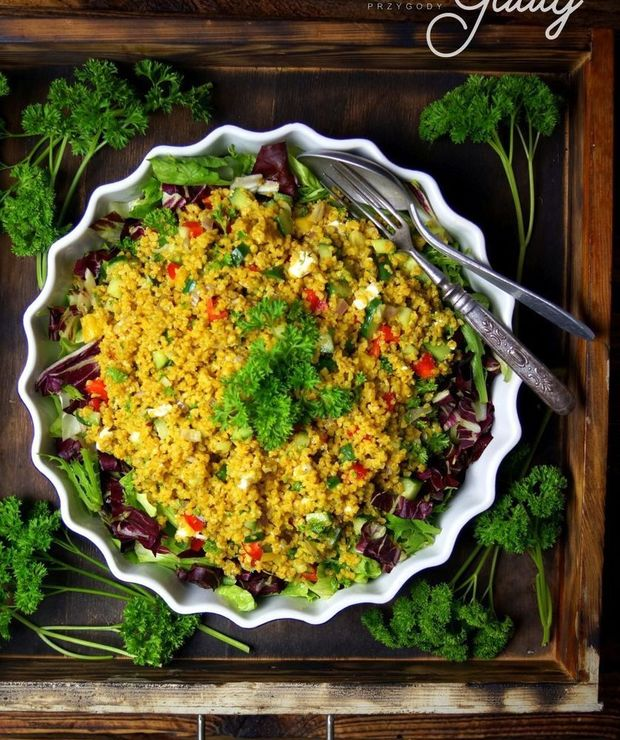 Sałatka z bulguru ze świeżymi warzywami - Na zimno