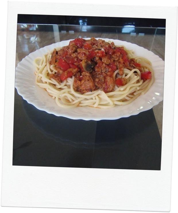 Spaghetti z Papryką i Pieczarkami - Wieprzowina
