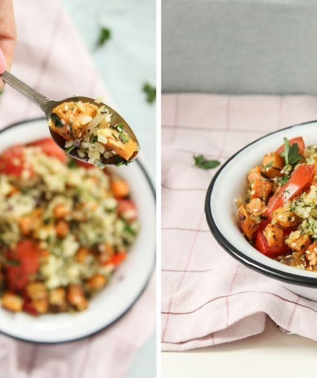 Kasza bulgur z koperkiem, pietruszką, pomidorem i batatem - Warzywa