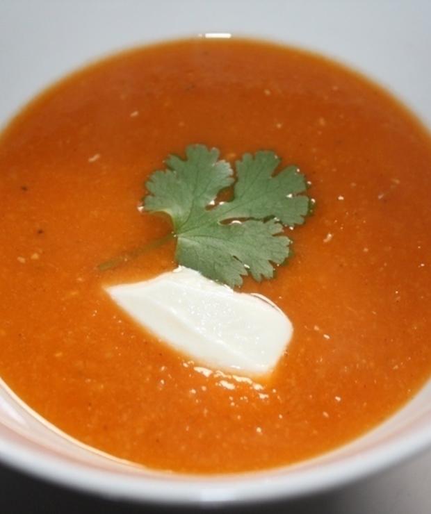 Zupa krem z czerwonej soczewicy i pomidorów - Z warzywami