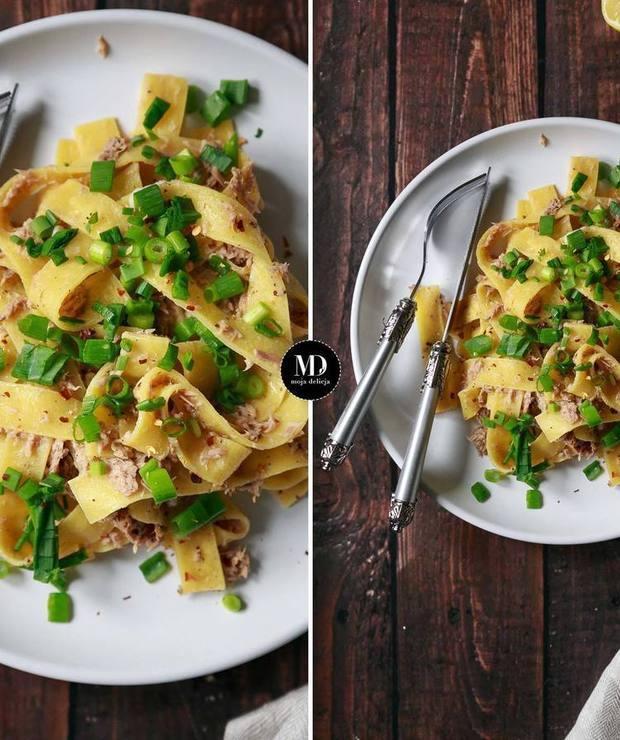 Makaron pappardelle z tuńczykiem - Dania z makaronu