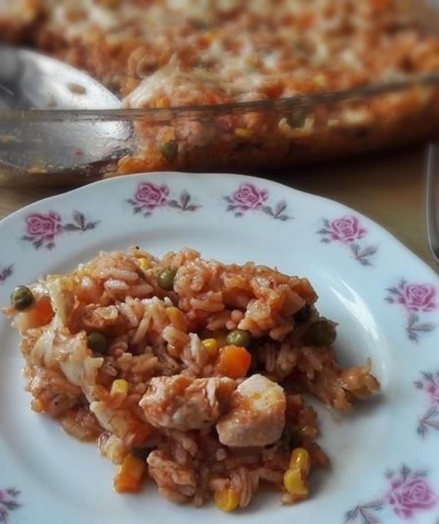 Zapiekane risotto z kurczakiem i warzywami - Dania z ryżu i kaszy