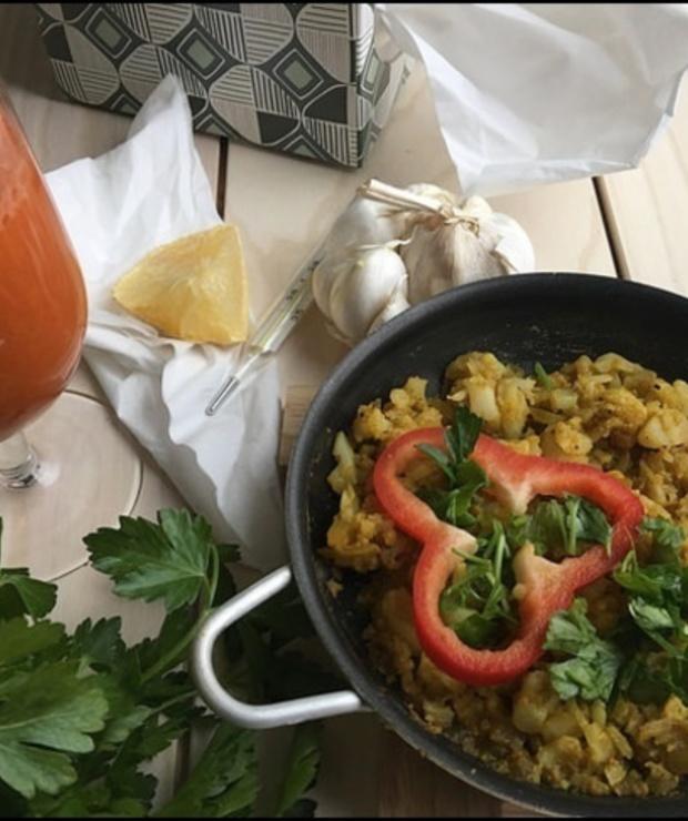 Wegańska jajecznica z kalafiora na przeziębienie! - Jajka i omlety