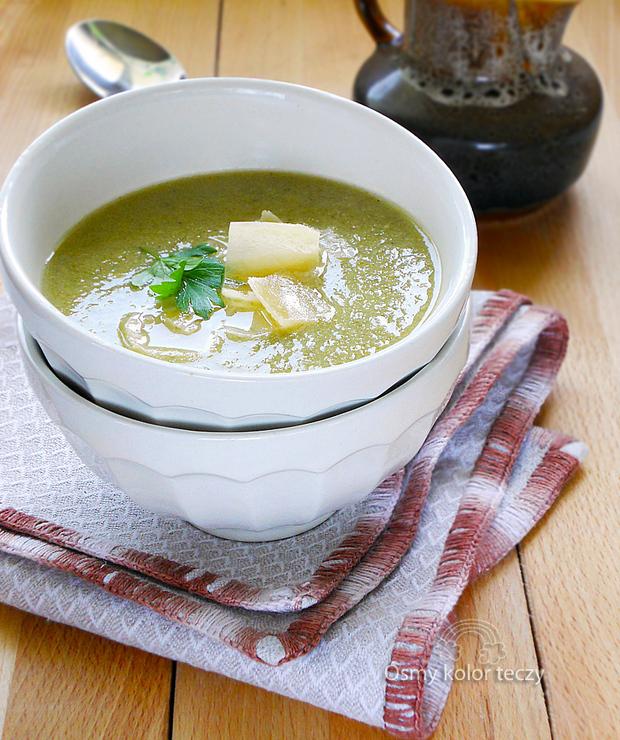 Kremowa zupa szczawiowa podana z parmezanem. - Kremy
