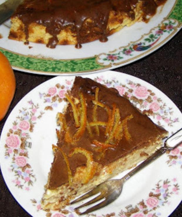 sernik pomarańczowy z polewą czekoladową... - Serniki