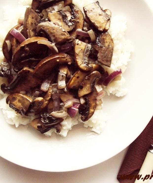 Pieczarki portobello z ryżem jaśminowym (bez glutenu) - Dania z ryżu i kaszy
