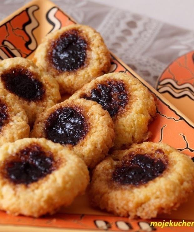 Ciasteczka z kleiku ryżowego z powidłami śliwkowymi  - Ciastka