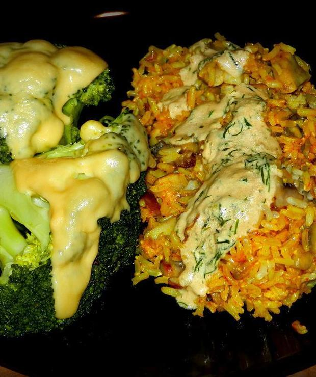 Ryż z pieczarkami i brokuły z serem… - Dania z ryżu i kaszy