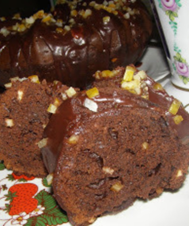 """babka """"murzynkowa"""" na oleju kokosowym z polewą czekoladowo-dżemową... - Babki"""
