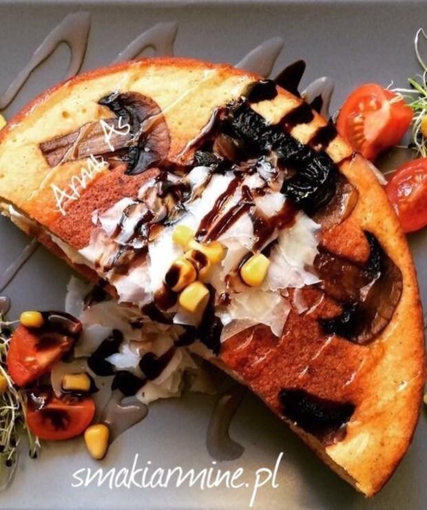 Omlet kukurydziany na pieczarkach - Jajka i omlety